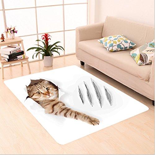 nalahome personalizado alfombra Imal divertido gato en papel pintado agujero con garra arañazos divertido gatito lindo...