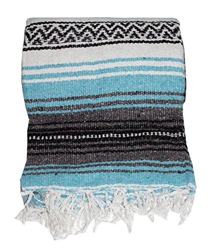Desert Dance Turquoise Rug: Authentic Mexican Falsa Blanket