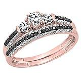 10K Rose Gold White Sapphire, Black & White Diamond 3 Stone Bridal Engagement Ring Set (Size 7)