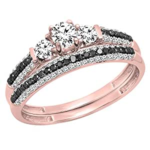 10K Rose Gold White Sapphire, Black & White Diamond 3 Stone Bridal Engagement Ring Set (Size 4)