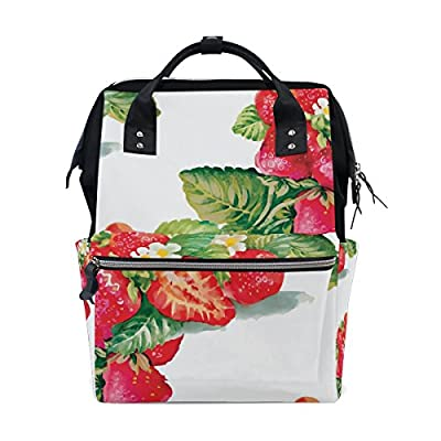 3ad03eb702 WIHVE Watercolor Strawberry Flower Leaf Canvas Lightweight School Bag  Fashion Laptop Backpack Bookbag for Teen Girls