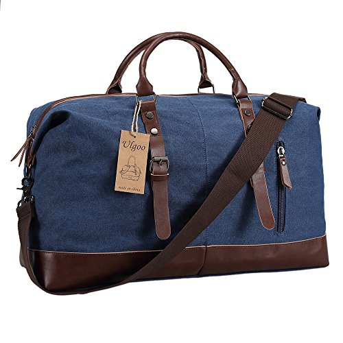 Ulgoo Travel Duffel Bag Canvas Bag PU Leather Weekend Bag Overnight (Deep Blue) by Ulgoo (Image #1)