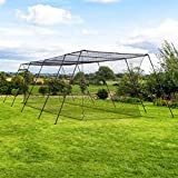 Fortress Trapezoid Baseball Batting Cage [Complete Package] - Softball Hitting Cage Net (55ft Cage - Internal Net)