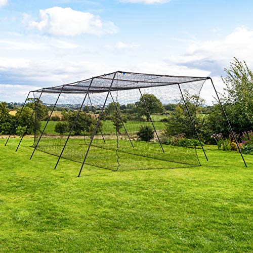 Portable Cage Backstop (Fortress Trapezoid Baseball Batting Cage [Complete Package] - Softball Hitting Cage Net (35ft Cage - Internal Net))