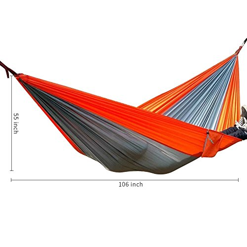Double Camping Hammock, Rusee Lightweight Portable Nylon Fabric Parachute Outdoor Hammock For Backpacking, Travel, Beach, Yard – With Free Hammock Straps & Steel Carabiners
