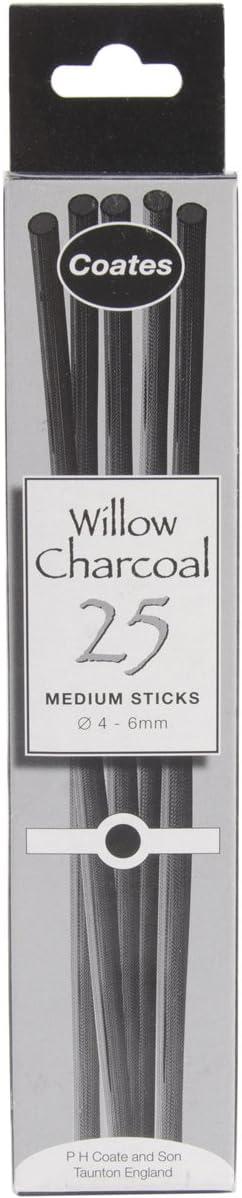 Coates 2-3 mm diámetro carboncillo de sauce, 25 unidades, negro