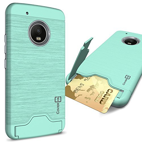 Moto G5 Plus Case, Moto G Plus 5th Generation Case, Moto X 2017 Case, CoverON [SecureCard Series] Hybrid Cover with Card Slot and Kickstand for Motorola Moto X (2017 Version) / G5 Plus Mint Teal