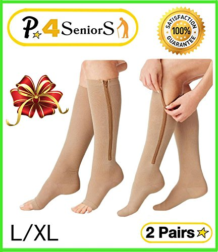 Easy Stocking - Presadee Seniors 15-20 mmHg and 20-30 mmHg Zipper Compression Easy Zip up Socks Swelling Calf Leg Day and Night 2 Pack (L/XL, Beige)