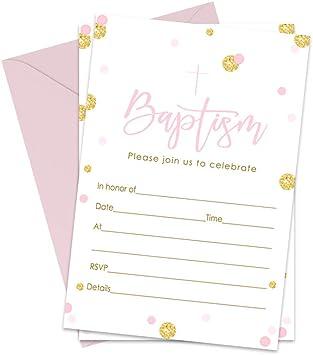 Amazon.com: Niñas bautizo juego de invitaciones de 15 rosa y ...