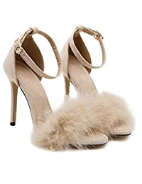 Womens PU Lether Hairy Stiletto Sandals