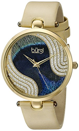 Burgi Women's BUR131 Swarovski Crystal Accented Peacock Feather Dial with Satin Over Leather Strap Watch (Yellow Gold) -