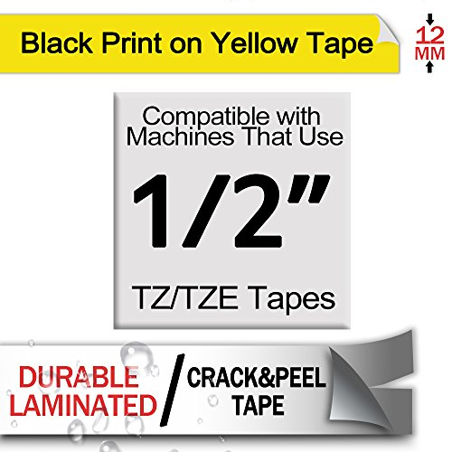 Fimax 2 Packs Standard Laminated Label Tapes Compatible For Brother P-Touch TZe-631 TZ631 TZe631 Black on Yellow 0.47 Inches 26.2ft (12mm/8m) Photo #5