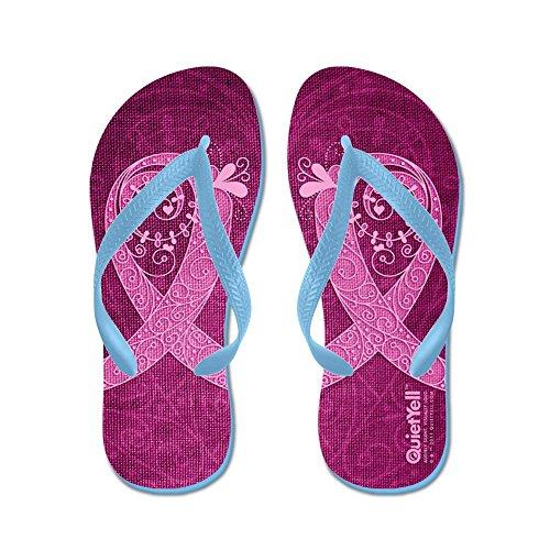 CafePress Think Pink Curly Ribbon Lt Flip Flops - Flip Flops, Funny Thong Sandals, Beach Sandals Caribbean Blue