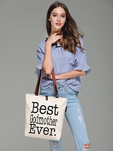 So'each Women's Best Godmother Graphic Top Handle Canvas Tote Shoulder Bag
