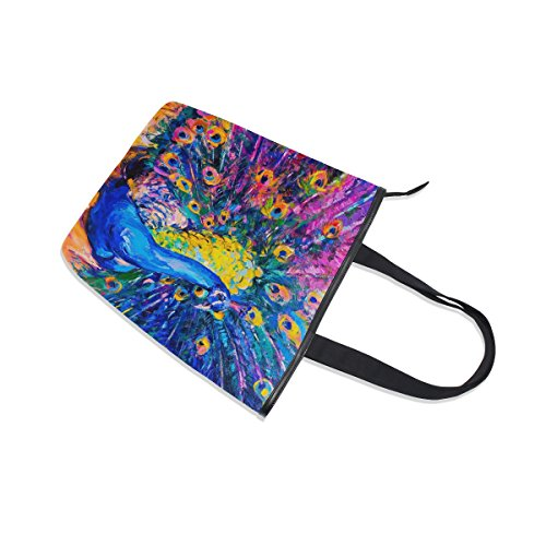 Oil Bag Handbag Painting Canvas MyDaily Shoulder Womens Peacock Tote qfxgH7RwB