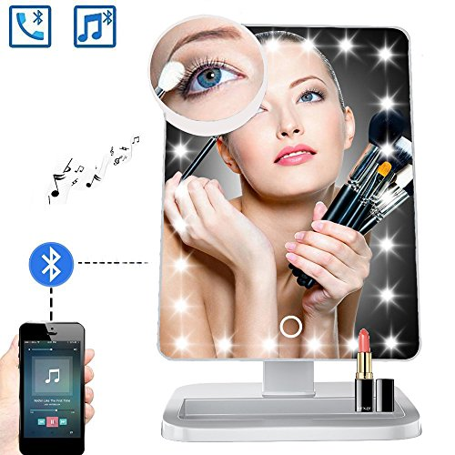 Email Bluetooth (Makeup Mirror with Bluetooth / Bluetooth Lighted Mirror - LED Lights Makeup Mirror with Wireless Audio Speaker ,USB Charger Cable & Removable 10X Magnifying Mirror,180° Rotation Cosmetic Mirror(White))
