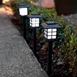 Lights4fun Set of 6 White LED Solar Lantern Garden Stake Lights b
