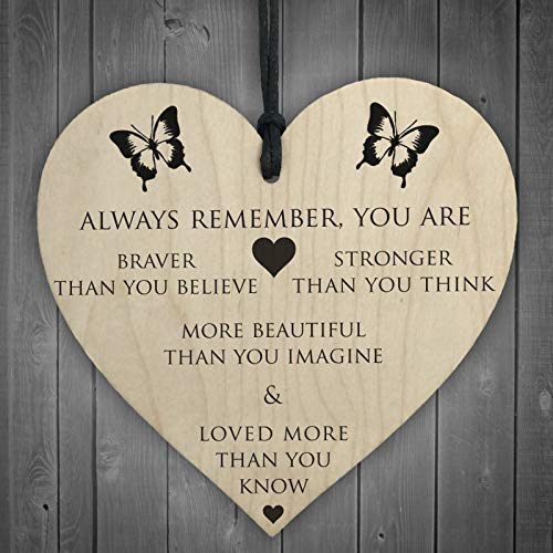 ONWON 4 Style Heart Wooden Gift Tags Greeting Card Hanging Ornament Warm & Thoughtful for Lover Couple Wife Husband Girlfriend Boyfriend, Suit for Valentine's Day Christmas Birthday Wedding Day Gift