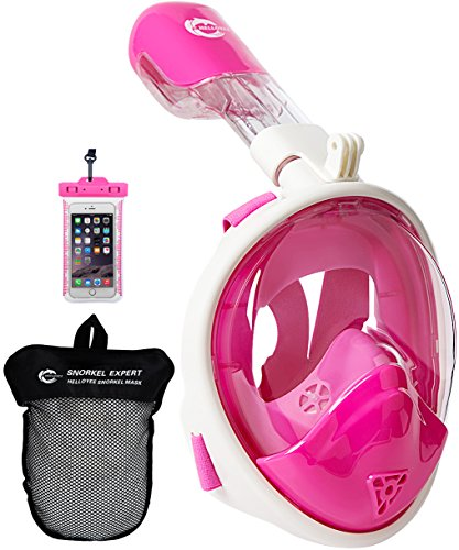 HELLOYEE Panoramic View Snorkel Mask For Adults And Kids, Snorkeling Mask Free Breathing Full Face Anti-Fog Anti-Leak Design With Waterproof Phone Pouch (Pink, XS-For Kids)