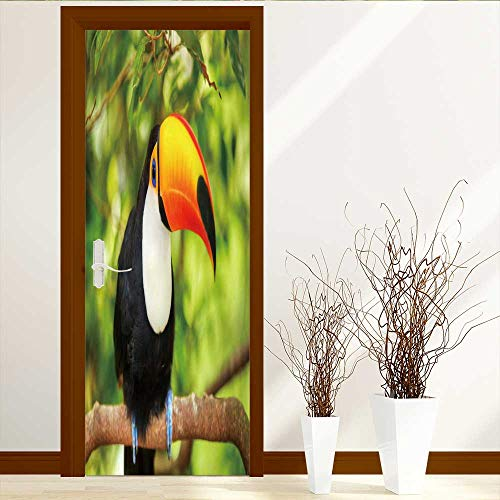 (Analisahome Door Wall Mural Wallpaper Stickers Colorful Tucan in The Aviary Repositionable Fabric Mural W30 x)