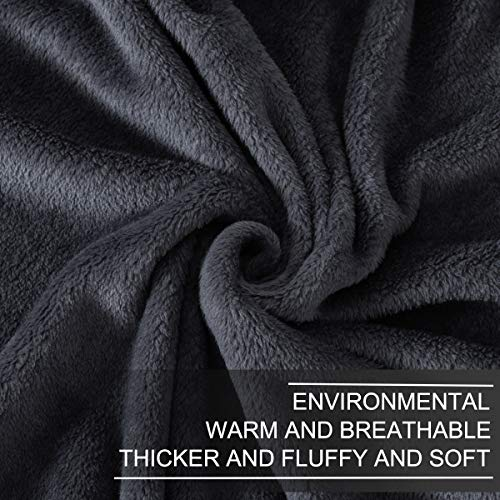 "Richave Fleece Blankets Queen Size for All Season 350GSM - Premium Lightweight Anti-Static Throw for Bed Extra Soft Brush Fabric Warm Sofa Thermal Blanket 90"" x 90""(Dark Gray Queen)"
