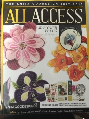 Anita Goodesign All Access VIP Club July 2018 Embroidery Machine Designs CD & Book (Flowers Machine Embroidery Designs)