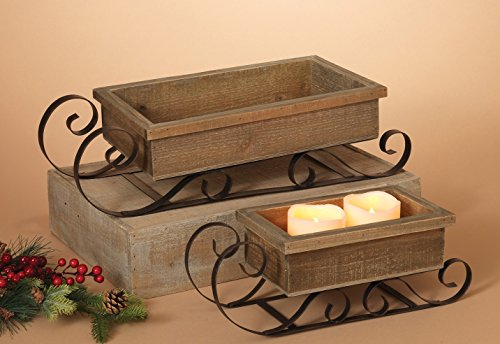 Set of 2 Wood and Metal Winter Holiday Sleighs - Christmas Sleds 20 Inches and 15 Inches (Small Sleigh)
