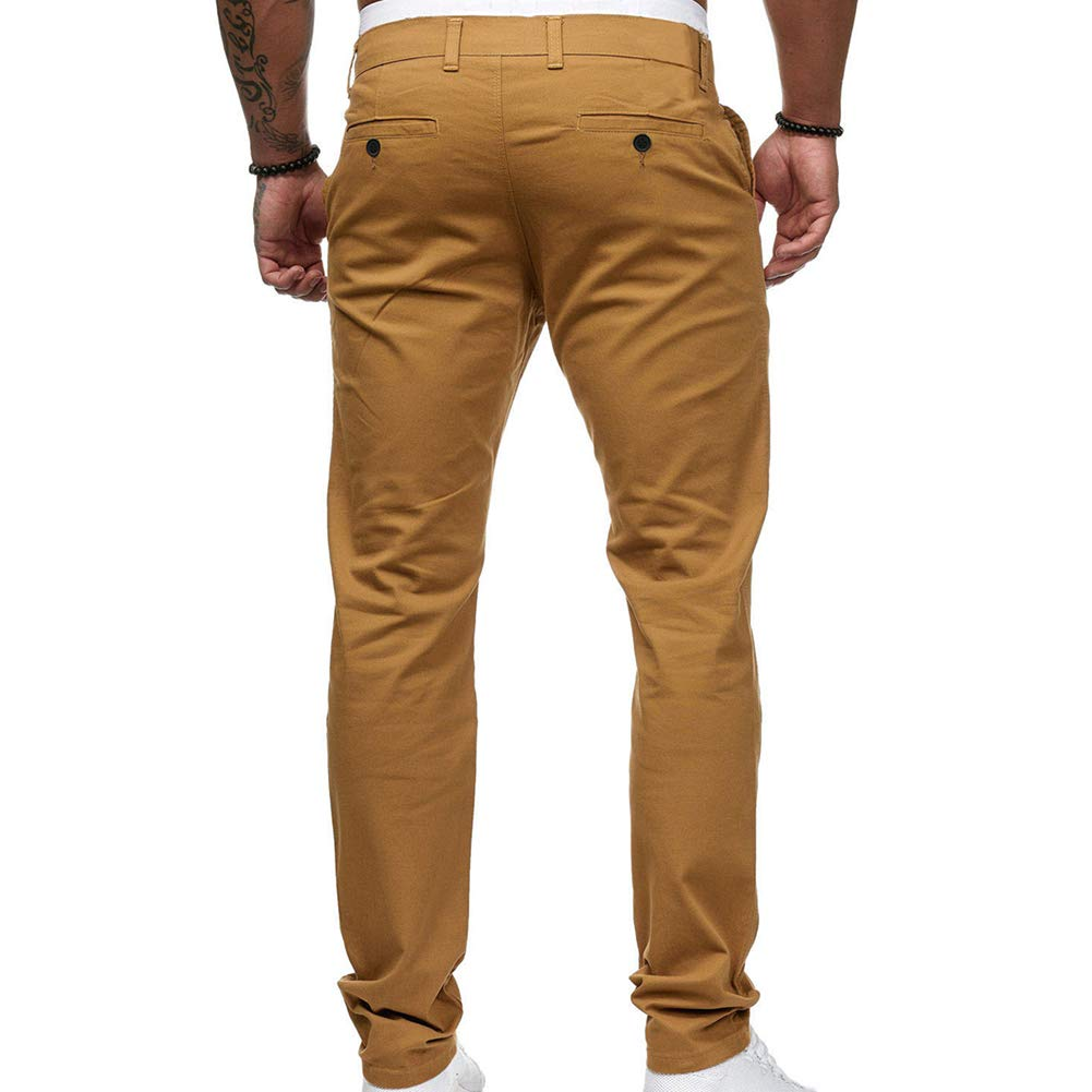 Fashion Solid Color Pocket Straight Slim Fit Zipper Button Long Trousers Yellow M vOPRvana1n Men Casual Pants