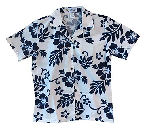 Made in Hawaii ! Women's Classic Hibiscus Flowers Hawaiian Aloha Camp Shirt (M, White/Navy)