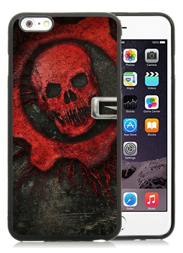 iPhone 6 Plus TPU Case,Gears Of War Skull Font Background Name Black iPhone 6S Plus 5.5 Inches Cover Case