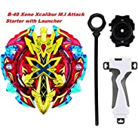BEAU STUTI Battling Top Beyblades B-48 Xeno Xcalibur M.I Attack Starter with Launcher + Grip Set Toys for Kids