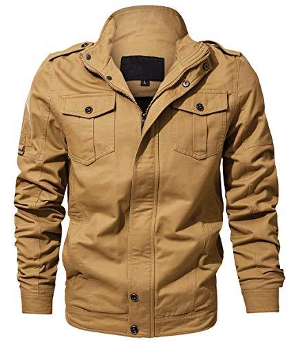YIMANIE Men's Casual Cotton Military Jacket Stand Collar Lightweight Slim Bomber Jacket Windbreaker,Khaki,L