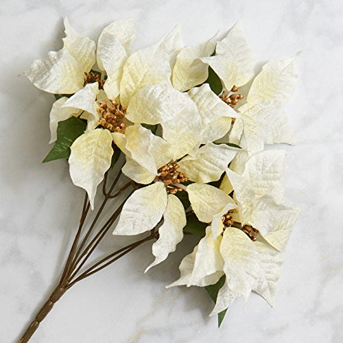 Factory Direct Craft Festive Creamy White Velvet Artificial Poinsettia Bush for Indoor Holiday Decor