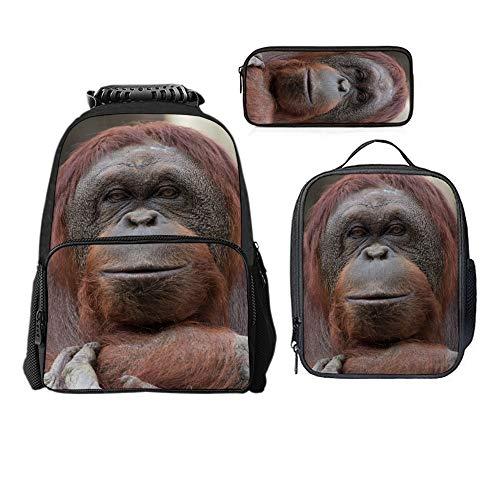SARA NELL Reddish Brown Orangutan Portrait Boys Girls Backpack Daypack Set 3 Pieces School Bookbag Lunchbox Pencil Bag ()
