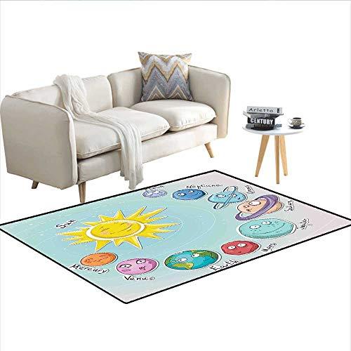 - Carpet,Cute Cartoon Sun and Planets of Solar System Fun Celestial Chart Baby Kids Nursery Theme,Customize Rug Pad,Multi 55