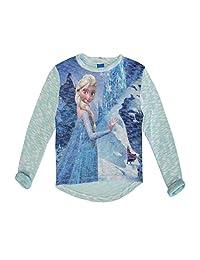Disney Little Girls Blue Elsa Frozen Winter Print Long Sleeved Top 4-6X