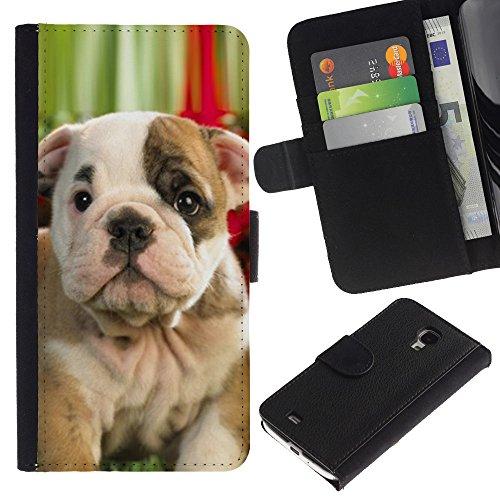 Billetera de Cuero Caso Titular de la tarjeta Carcasa Funda para Samsung Galaxy S4 Mini i9190 MINI VERSION! / Boston American Pit Bull Terrier Bulldog / STRONG
