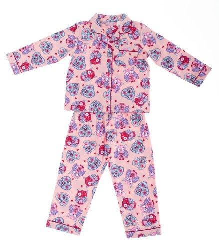 Mini ZZZ Baby Girl's Owl Flannel PJ Pyjamas Coral 6 - 9 Months ...