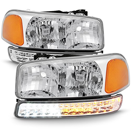 For 99-06 Sierra 00-06 Yukon Chrome Clear Headlights Replacement + LED Bumper Signal Light Lamps Set ()