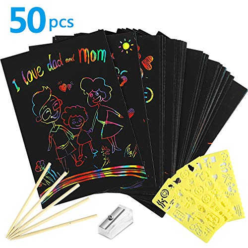Scratch Paper Art (Yoart Rainbow Scratch Paper, 50 Pieces Scratch Art Paper for Kids with 5 Wooden Styluses and 4 Drawing Stencils Gift Arts Crafts(Included Pencil)