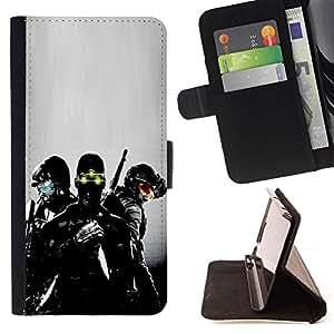 BullDog Case - FOR/HTC One M7 / - / Night Vision Soldier /- Monedero de cuero de la PU Llevar cubierta de la caja con el ID Credit Card Slots Flip funda de cuer