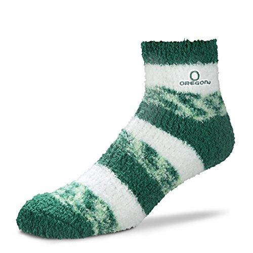 For Bare Feet NCAA RMC Pro Stripe Fuzzy Sleep Soft Sock -Oregon Ducks-Size-Medium