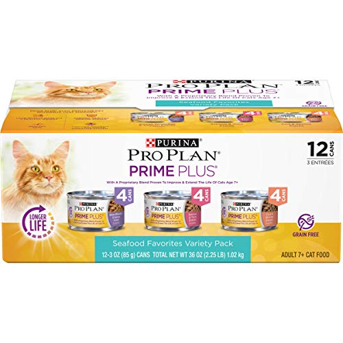 Purina Pro Plan Grain Free Senior Pate Wet Cat Food Variety Pack, PRIME PLUS Seafood Favorites – (2 Packs of 12) 3 oz. Cans