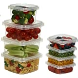 Clear Deli Food Storage Containers With Lids Tamper evident security system and easy stackable and space saver shape Restaurant Take Out/ Freezer microwave and dishwasher safe - 8 Oz. - 25 sets