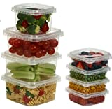 Clear Deli Food Storage Containers With Lids Tamper evident security system and easy stackable and space saver shape Restaurant Take Out/Freezer microwave and dishwasher safe - 8 Oz. - 25 sets