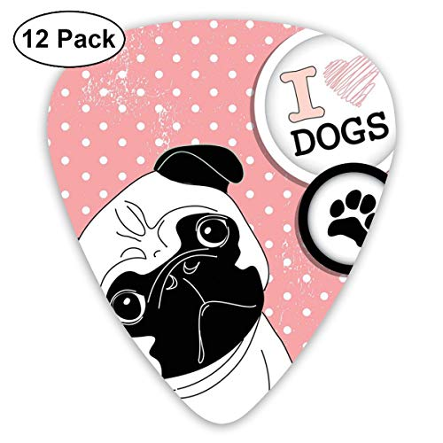 Celluloid Guitar Picks - 12 Pack,Abstract Art Colorful Designs,I Love Dogs With A Paw Print Emblem Pug With Tilted Head Cute Fun Animal Print,For Bass Electric & Acoustic Guitars.
