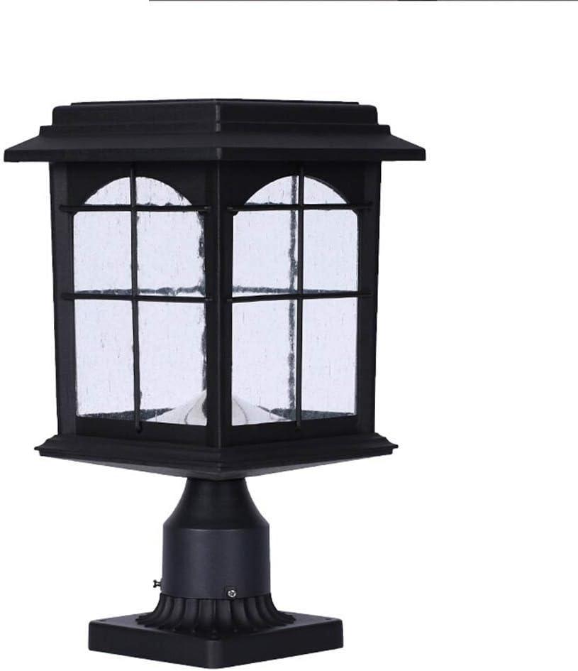 コラムヘッドライト近代的な屋外の壁ランプレトロなアウトドアコラムヘッドライトヴィラガーデンウォールランプアルミニウム (色 : ブラック, サイズ : 22.3×22.3×41cm)