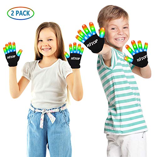 HITOP led Gloves Light Up Kids Toys Boys Girls for Age 5 6 7 8 9 10 Years Old with Extra Batteries ( 2 Pair)