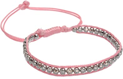 19f0844370aa behave Bracelet en perles de rocaille rose clair - Bracelet tressé avec  perles de couleur argent