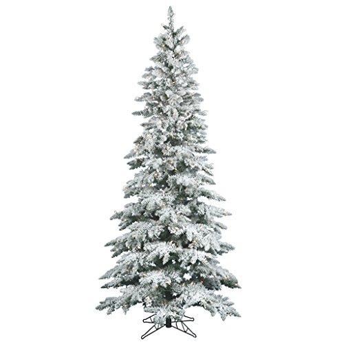 Vickerman 65' Flocked Slim Utica Fir Artificial Christmas Tree with 300 Warm White LED Lights (Flocked Utica Tree)